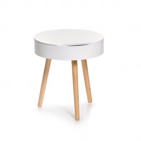 Table basse ronde blanche bois avec rangement Zeller
