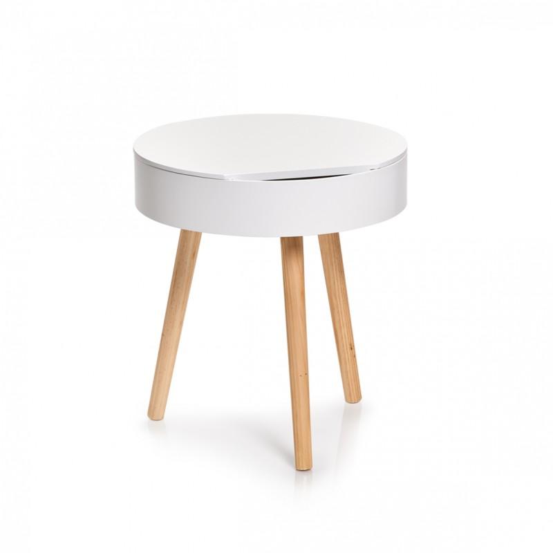 table basse ronde blanche bois avec rangement zeller 17008. Black Bedroom Furniture Sets. Home Design Ideas