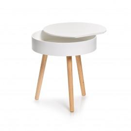 table basse ronde blanche bois avec rangement zeller 17008