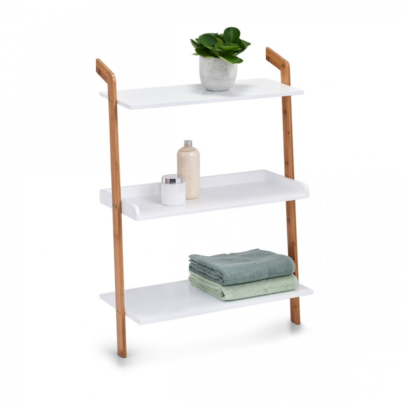 etagere echelle rangement salle de bains bois blanc zeller. Black Bedroom Furniture Sets. Home Design Ideas