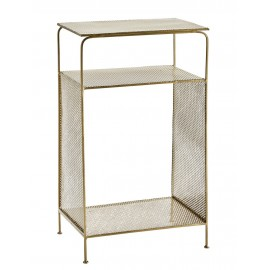 madam stoltz table d appont chevet metal laiton perfore 21722AB