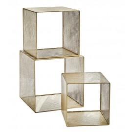 madam stoltz etagere murale 3 cubes metal laiton perfore 21797AB