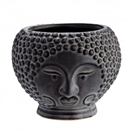 madam stoltz face pot de fleur visage gres gris HY14223-16