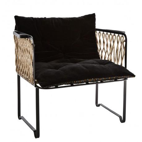 madam stoltz fauteuil retro metal noir corde coussin 21790BL