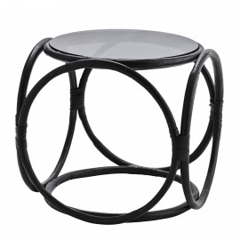 Table basse ronde rétro bambou noir verre Madam Stoltz