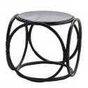 madam stoltz table basse ronde retro bambou noir verre 21729BL