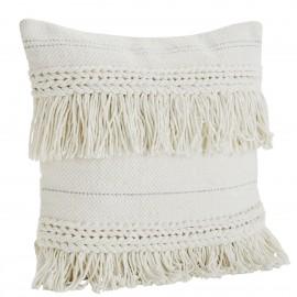 madam stoltz housse de coussin blanc ecru franges coton 50 x 50 cm