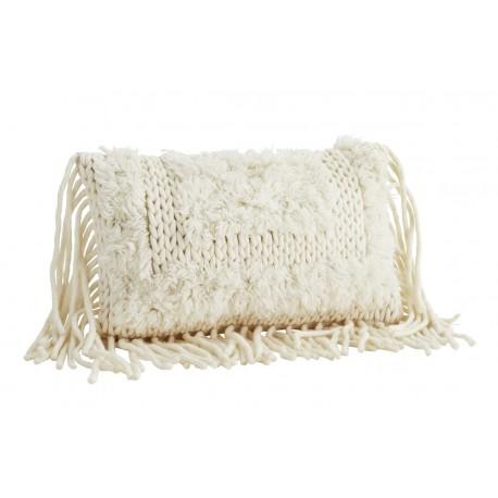 madam stoltz housse de coussin laine blanc ecru franges 40 x 60 cm JEWC1031