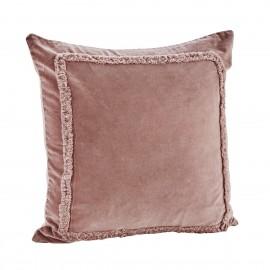 madam stoltz housse de coussin velours rose poudre franges 45 x 45 cm