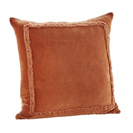 madam stoltz housse de coussin velours orange caramel franges 45 x 45 cm