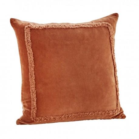 madam stoltz housse de coussin velours orange caramel franges 45 x 45 cm