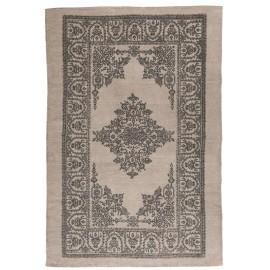 Tapis rectangulaire coton beige gris motif rosa malva IB Laursen