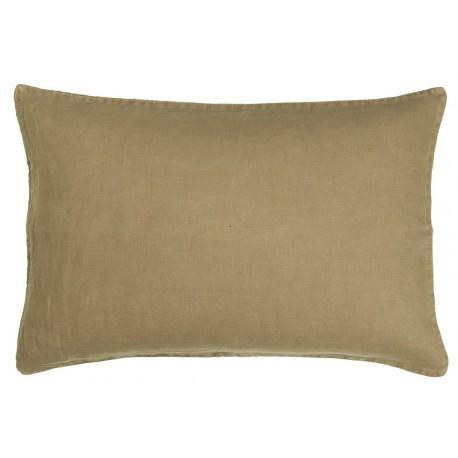 ib laursen housse de coussin lin vert kaki delave rectangulaire 60 x 40 cm