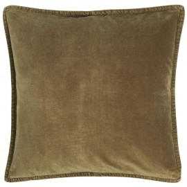 housse de coussin carree velours vert kaki ib laursen 50 x 50 cm