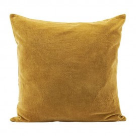 Housse de coussin carrée velours jaune curry House Doctor 60 x 60 cm