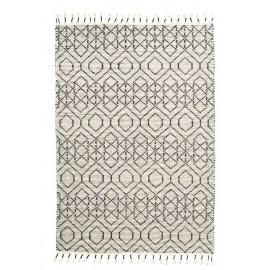 Tapis design coton écru noir motif géométrique House Doctor Reverse