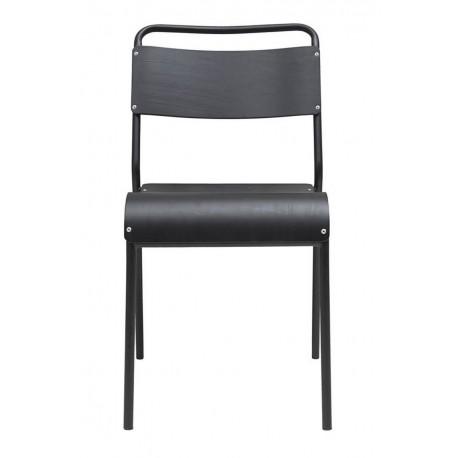 house doctor original chaise retro ecolier adulte bois noir metal noir