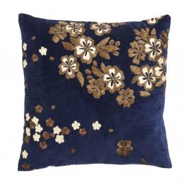 Housse de coussin velours bleu brodé fleurs or Nordal