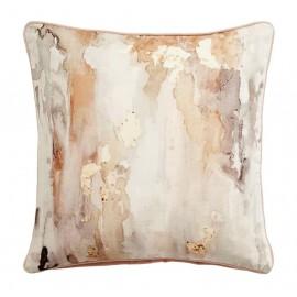 Housse de coussin carré aquarelle velours beige rose Nordal 45 x 45 cm