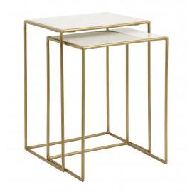 nordal tables basses gigognes marbre blanc metal laiton 1998