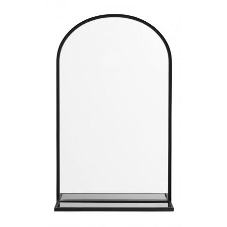 Miroir mural ovale métal noir avec étagère Nordal
