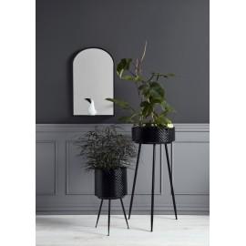 nordal miroir mural ovale metal noir avec etagere 19990