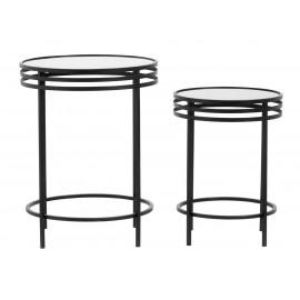 Set de 2 tables d'appoint rondes style art déco métal noir miroir Nordal
