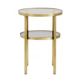 Table d'appoint ovale laiton verre deux plateaux Nordal