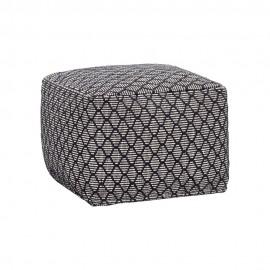 Pouf carré textile motifs losanges noir blanc Hübsch