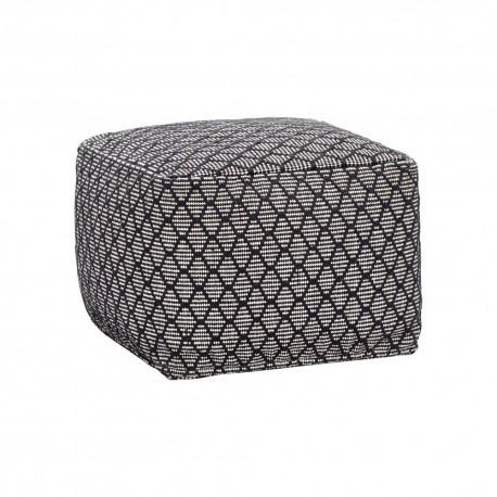 Pouf carré textile noir blanc Hübsch