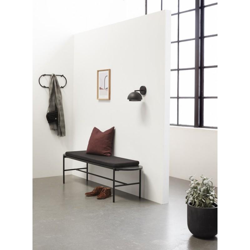 hubsch banc design noir bois et metal coussin 020702. Black Bedroom Furniture Sets. Home Design Ideas