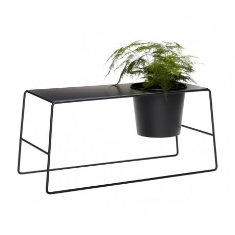 hubsch table basse avec pot de fleur integre metal noir 020707