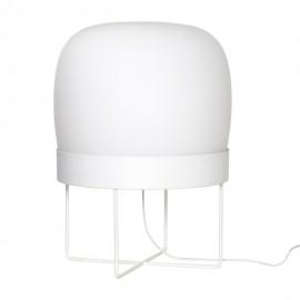 hubsch lampe de sol blanche design verre et metal 990704