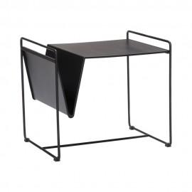 Petite table basse design avec porte-revues métal noir Hübsch