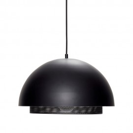 Suspension design demi-sphère métal noir perforé Hübsch D 40 cm