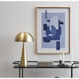 Lampe de table design métal doré laiton forme champignon Hübsch