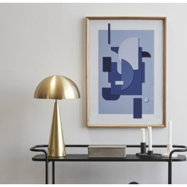 hubsch lampe de table design metal dore laiton forme champignon