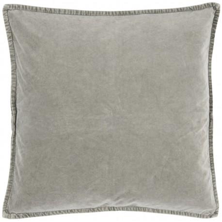 ib laursen housse de coussin carre velours gris clair 50 x 50 cm