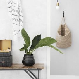 Vase rustique métal noir aluminium House Doctor Stribe