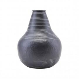 Vase rustique métal alu noir House Doctor Stribe