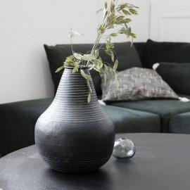 house doctor stribe vase rustique metal alu noir Ne0346