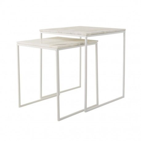 Bloomingville Set De 2 Tables Basses Carrees Gigognes Marbre Blanc