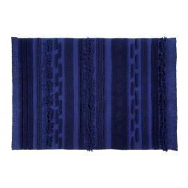 Tapis bleu cobalt coton Lorena Canals Air Alaska Blue 140 x 200 cm