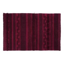 lorena canals air tapis coton rouge bordeaux franges 140 x 200 cm