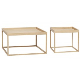 hubsch table basse carree minimaliste bois clair 880523