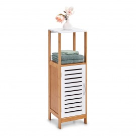 Armoire salle de bains colonne bois blanc bambou Zeller