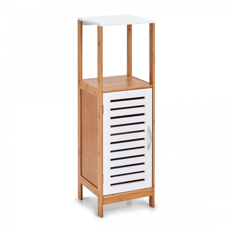 armoire salle de bains colonne bois blanc bambou zeller 18868. Black Bedroom Furniture Sets. Home Design Ideas