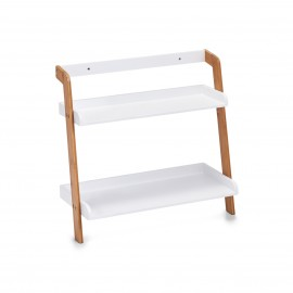 Petite étagère salle de bains bois blanc bambou 2 tablettes Zeller