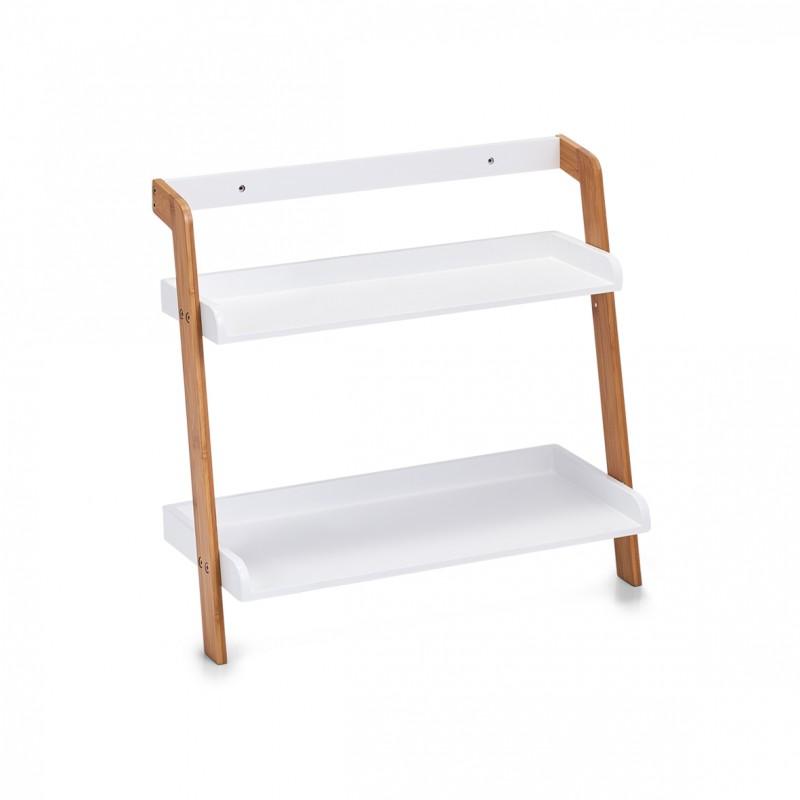 petite etagere salle de bains bois blanc bambou 2 tablettes zeller 18865. Black Bedroom Furniture Sets. Home Design Ideas