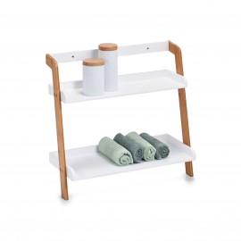petite etagere salle de bains bois blanc bambou 2 tablettes 18865